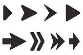 Arrows set. Black flat icons