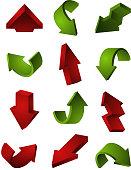 3D arrows set isolate on white