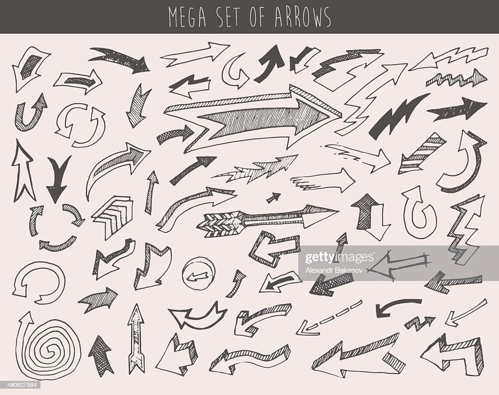 Arrows Set Vector  Hand Drawn Sketched Design : Vectorkunst