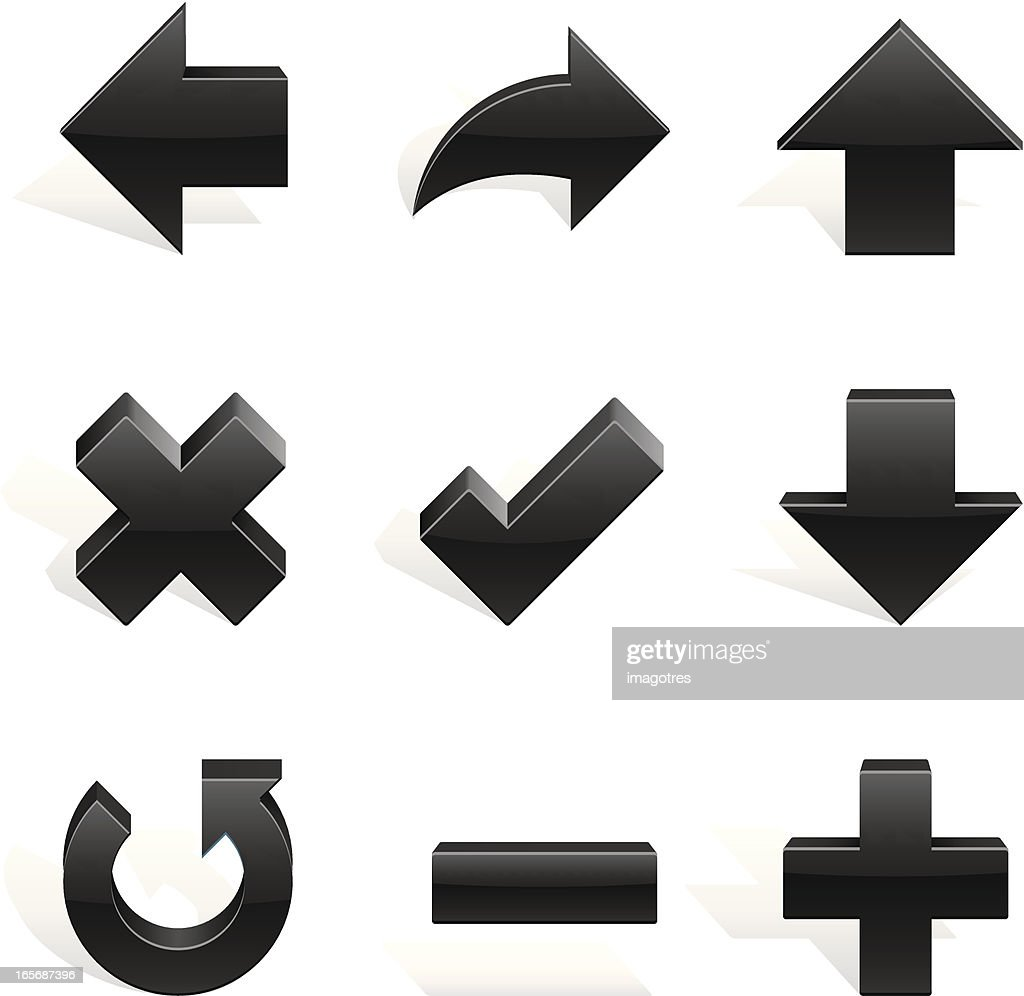 Arrows Shapes Black in 3d