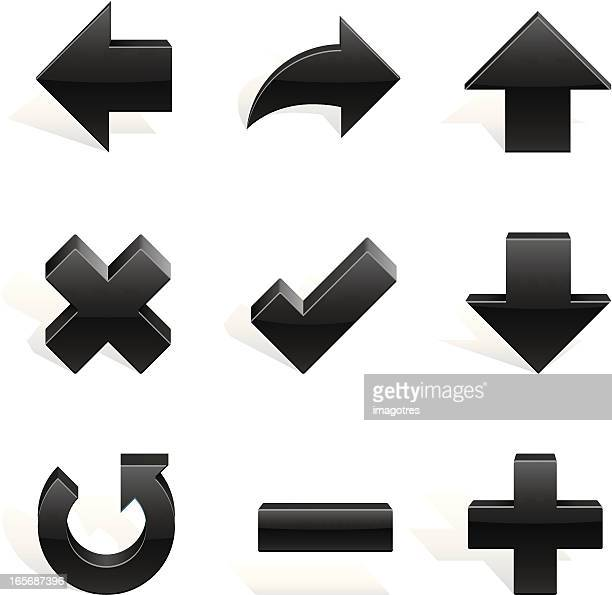 arrows shapes black in 3d - plus sign stock illustrations, clip art, cartoons, & icons