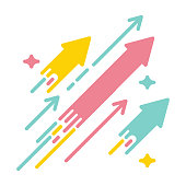 Arrows shooting to the stars. Vector icon illustration with bright vivid colors. Concept for financial, personal and creative growth
