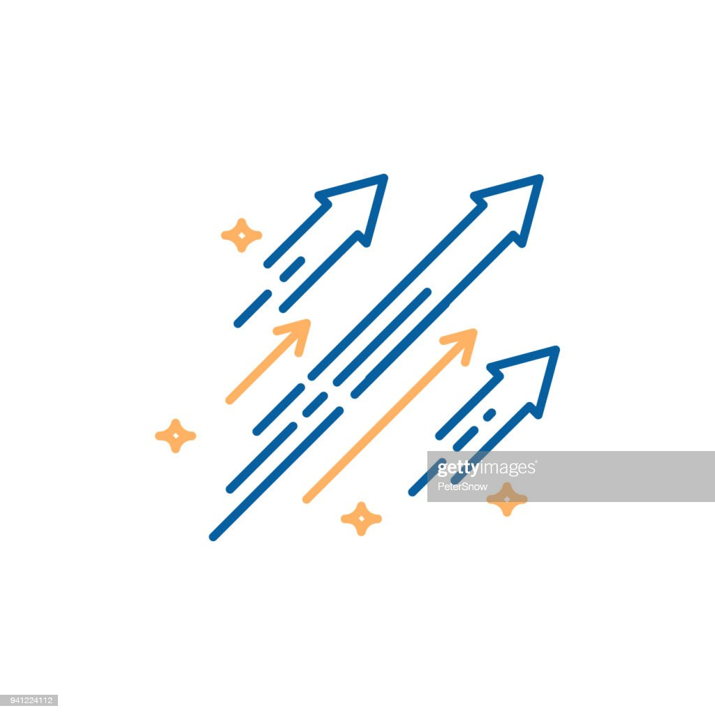 Arrows shooting to the stars. Vector trendy thin line icon illustration design. Concept for financial, personal and creative growth