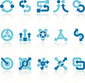 arrows signs set blue VII
