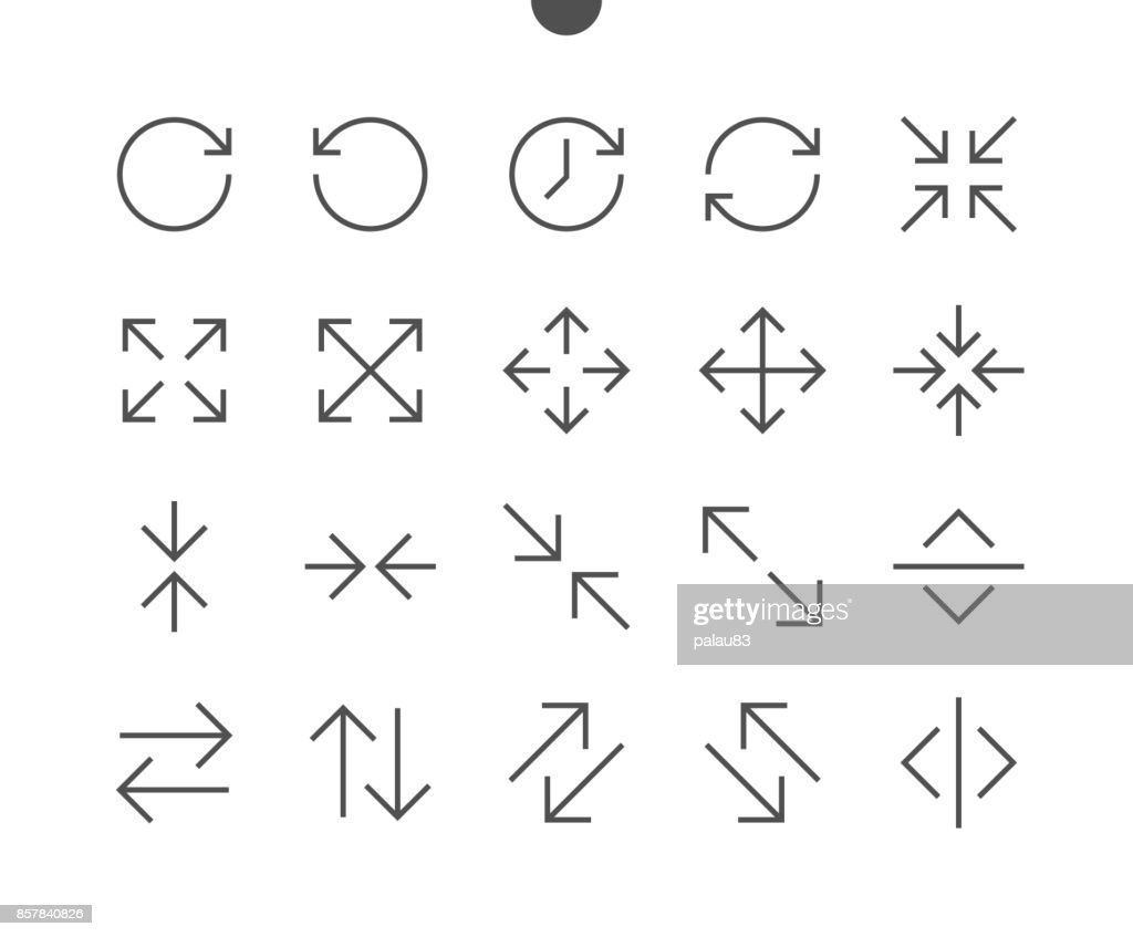 Arrows UI Pixel Perfect Well-crafted Vector Thin Line Icons 48x48 Ready for 24x24 Grid for Web Graphics and Apps with Editable Stroke. Simple Minimal Pictogram