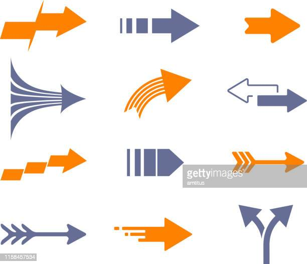 arrows various - chevron road sign stock illustrations