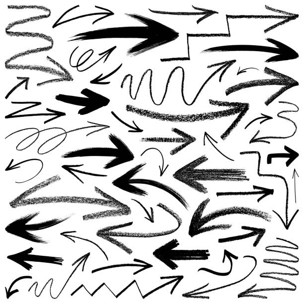 arrows, vector design elements - pencil drawing stock illustrations