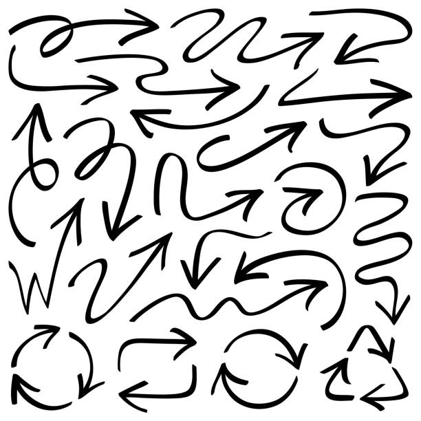 arrows - pencil drawing stock illustrations