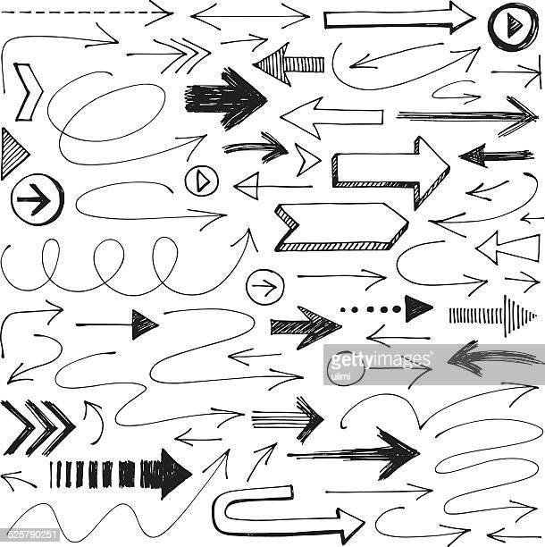arrows - pencil drawing stock illustrations, clip art, cartoons, & icons