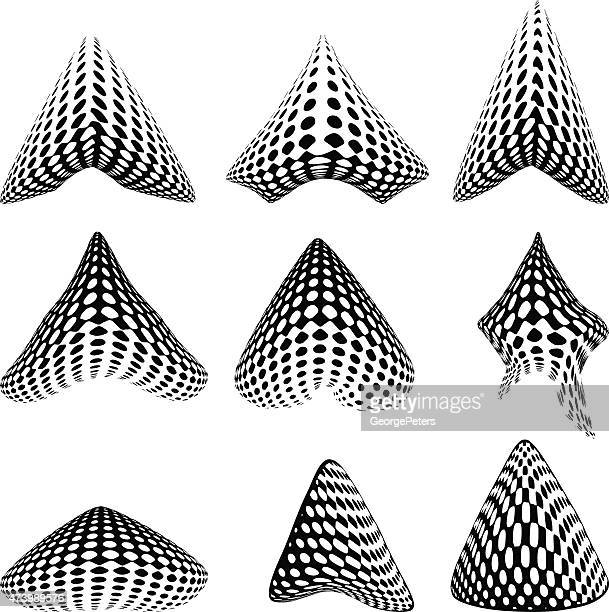 3d arrows with halftone pattern - stretched image stock illustrations, clip art, cartoons, & icons