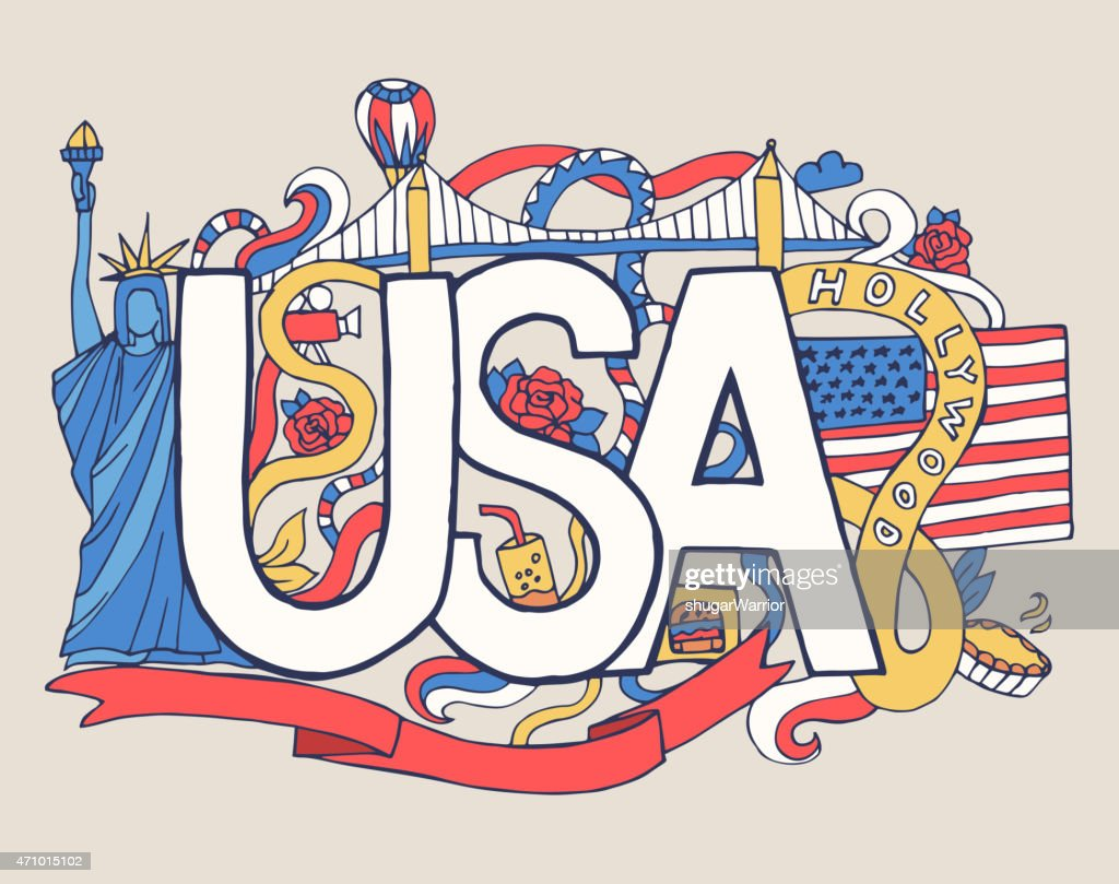 USA art abstract hand lettering and doodles elements background