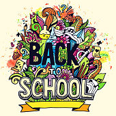 """Art abstract illustration with calligraphy text """"back to school"""" background"""