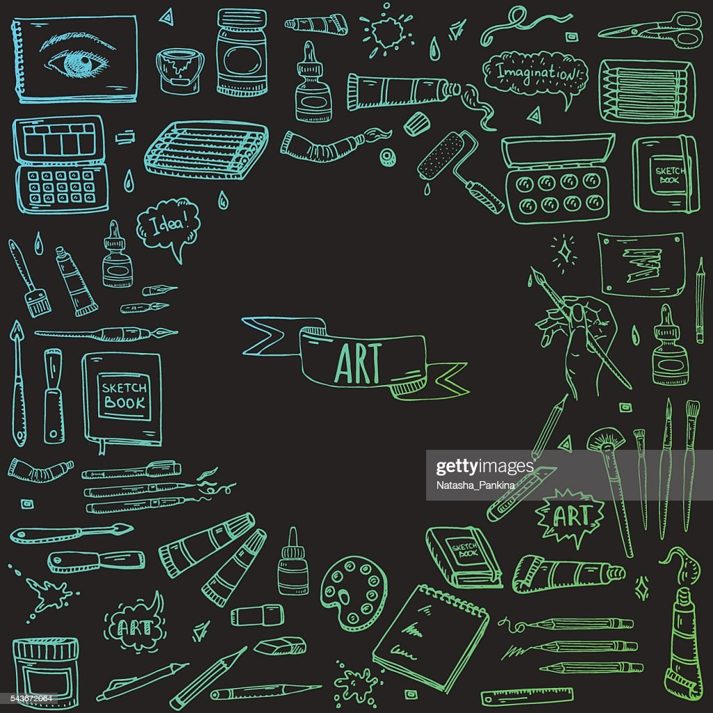 Art and Craft tools icons set