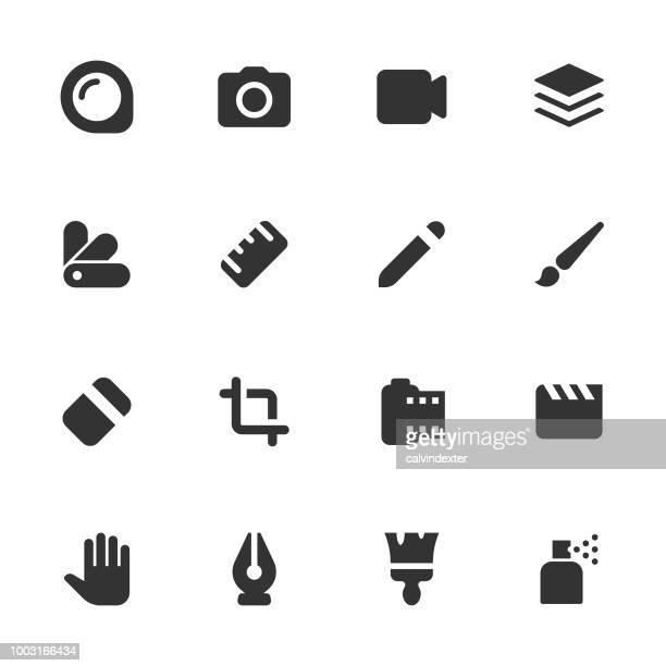 Art and creativity icon set - dark solid series