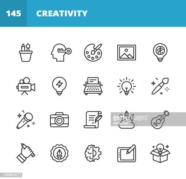 ilustraciones, imágenes clip art, dibujos animados e iconos de stock de iconos de línea de arte y creatividad. trazo editable. pixel perfecto. para móviles y web. contiene iconos como arte, creatividad, dibujo, pintura, fotografía, escritura, imaginación, innovación, lluvia de ideas, diseño, marketing, música, medios. - creatividad