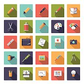 Art and design flat icon vector collection