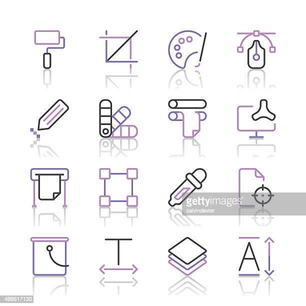 Art and Design Icons set 1 | Purple Line series