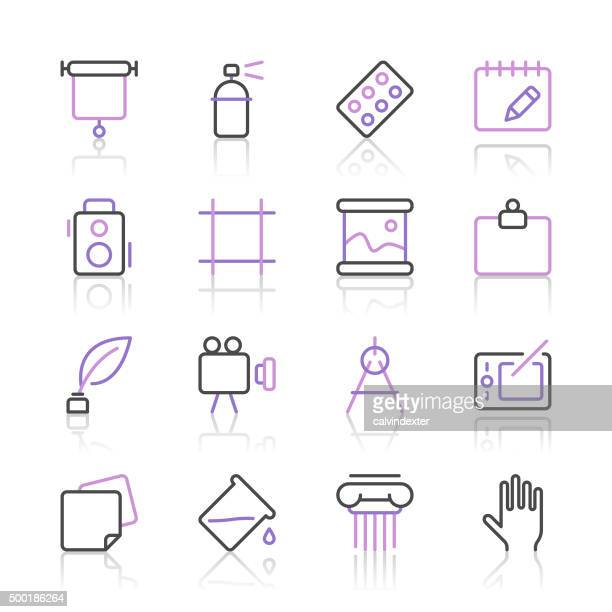 Art and Design Icons set 3 | Purple Line series