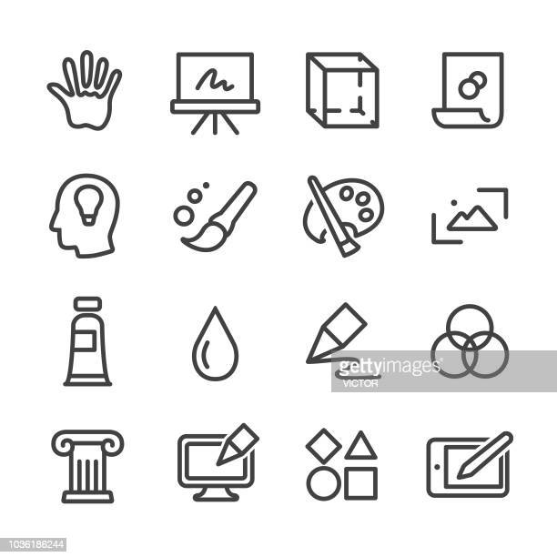 art and education icons - line series - artistic product stock illustrations