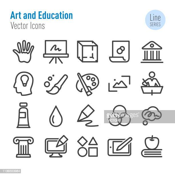 art and education icons - vector line series - easel stock illustrations