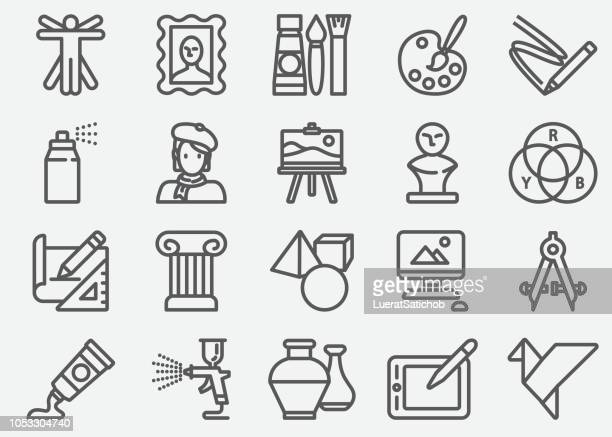 art and education line icons - artistic product stock illustrations
