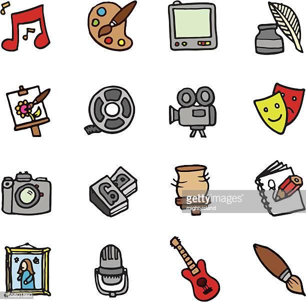 art and media doodle icons - ceramics stock illustrations, clip art, cartoons, & icons
