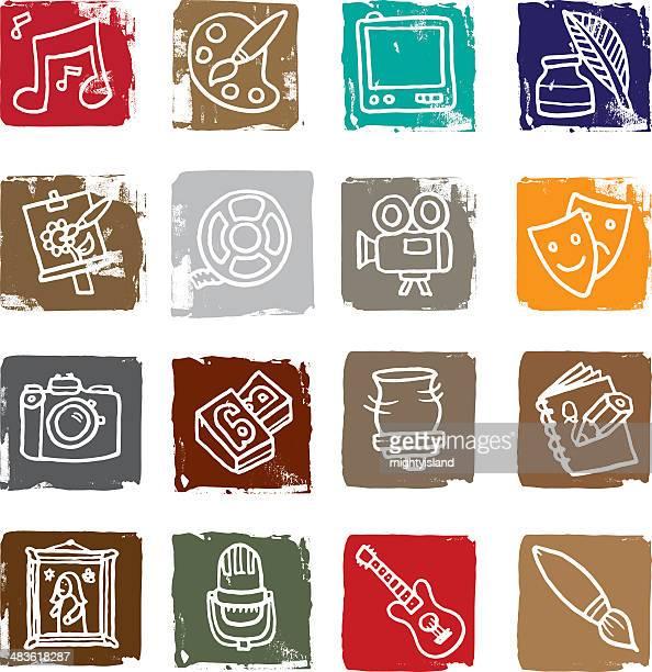 art and media icon blocks - ceramics stock illustrations, clip art, cartoons, & icons