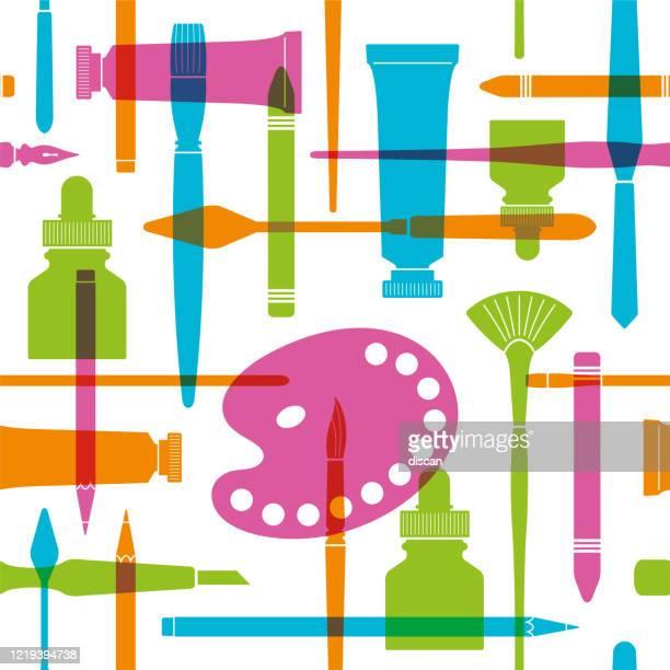 illustrazioni stock, clip art, cartoni animati e icone di tendenza di arte e forniture scolastiche modello senza soluzione di continuità. - pittore