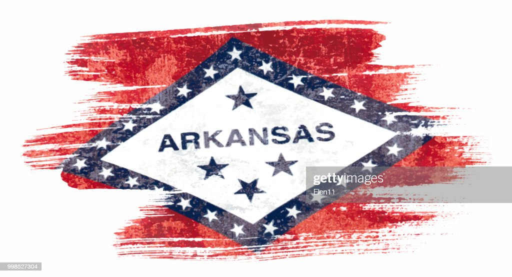 Art brush watercolor painting of Arkansas flag blown in the wind isolated on white background eps 10 bector illustration.