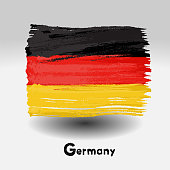 Art brush watercolor painting of  Germany flag