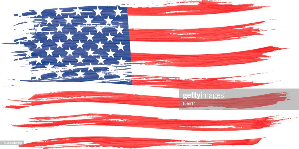 Art brush watercolor painting of USA flag blown in the wind isolated on white background.