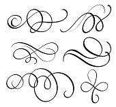 art calligraphy flourish of vintage decorative whorls for design. Vector illustration EPS10