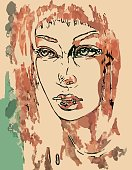 art colorful sketching beautiful girl face on sepia background