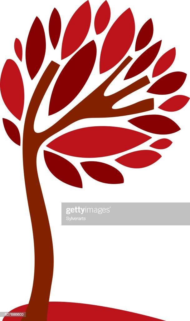 Art creative illustration of tree, stylized eco symbol. Insight vector image on season idea, beautiful plant.