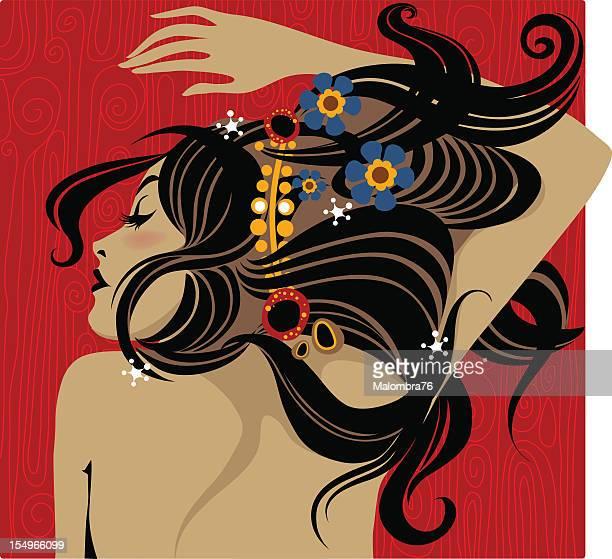 ilustrações de stock, clip art, desenhos animados e ícones de arte decò menina (1, 3 - cabelo liso