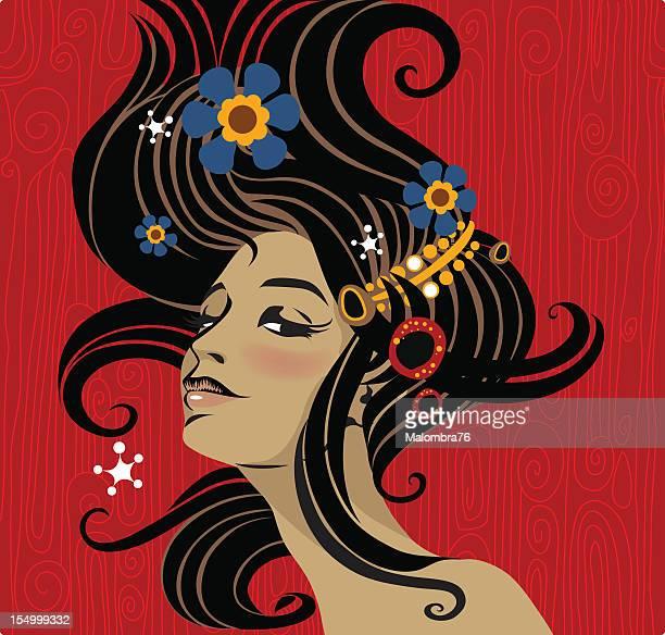 ilustrações de stock, clip art, desenhos animados e ícones de arte decò menina (2, 3 - cabelo liso