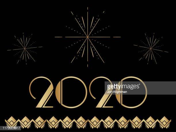 art deco 2020 new year banner - gatsby image stock illustrations