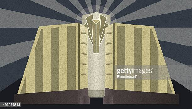 art deco architectural poster - architectural feature stock illustrations, clip art, cartoons, & icons