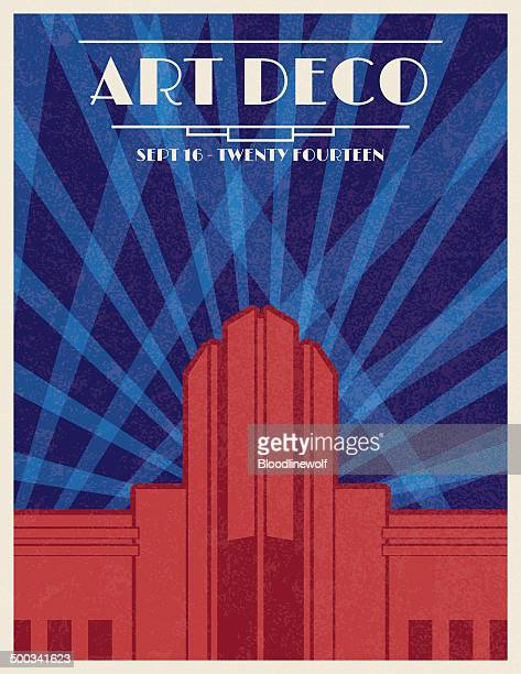 art deco architecture poster - gatsby image stock illustrations