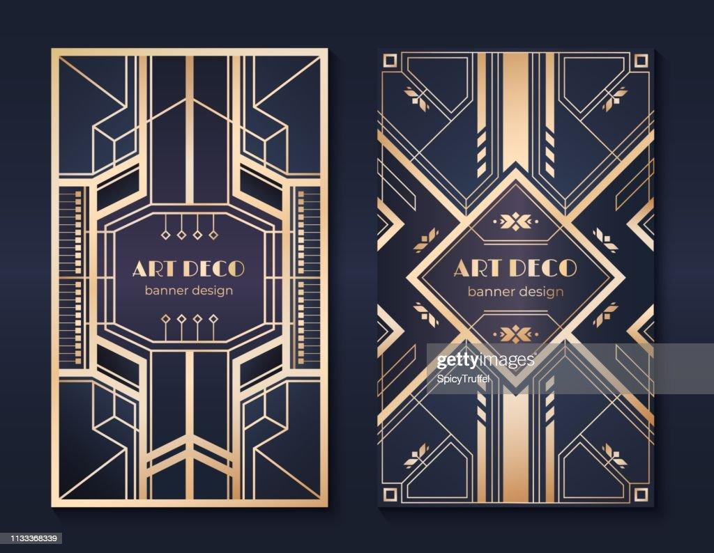 Art deco banners. 1920s party invitation flyer, fancy golden ornamental design, vintage frames and patterns. Art deco flyers