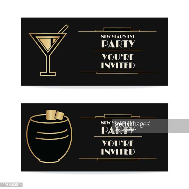 art deco banners / cards - martini and tumbler with text - cocktail stock illustrations