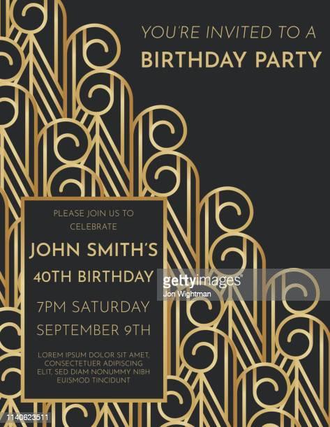 art deco birthday invite - gatsby image stock illustrations