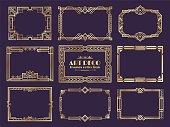 Art deco borders. 1920s golden frames, nouveau fancy decorative elements for vintage posters. Vector art deco ornament design set
