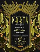 Art Deco botanical style vintage invitation design template