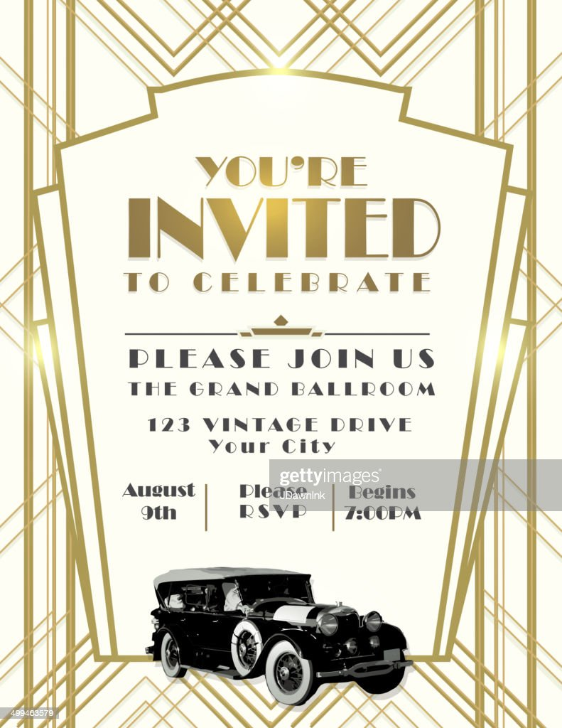 Art Deco car style vintage invitation design template on whtie