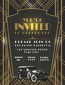 Art Deco car style vintage invitation design template
