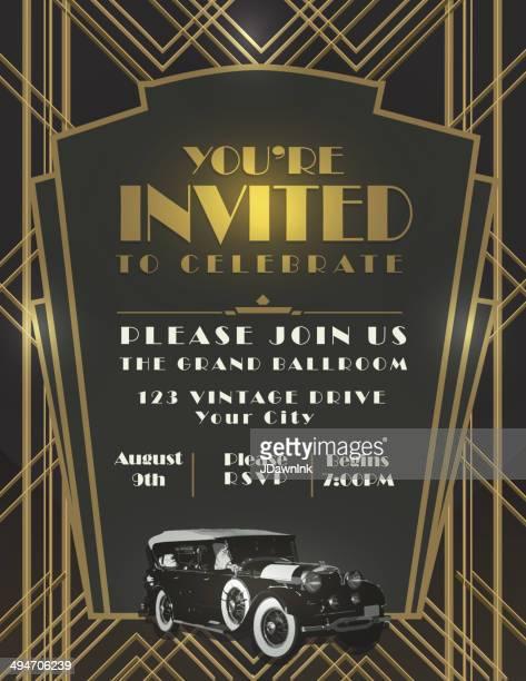アールデコカースタイルのヴィンテージの招待状のデザインテンプレート - 映画のポスター点のイラスト素材/クリップアート素材/マンガ素材/アイコン素材