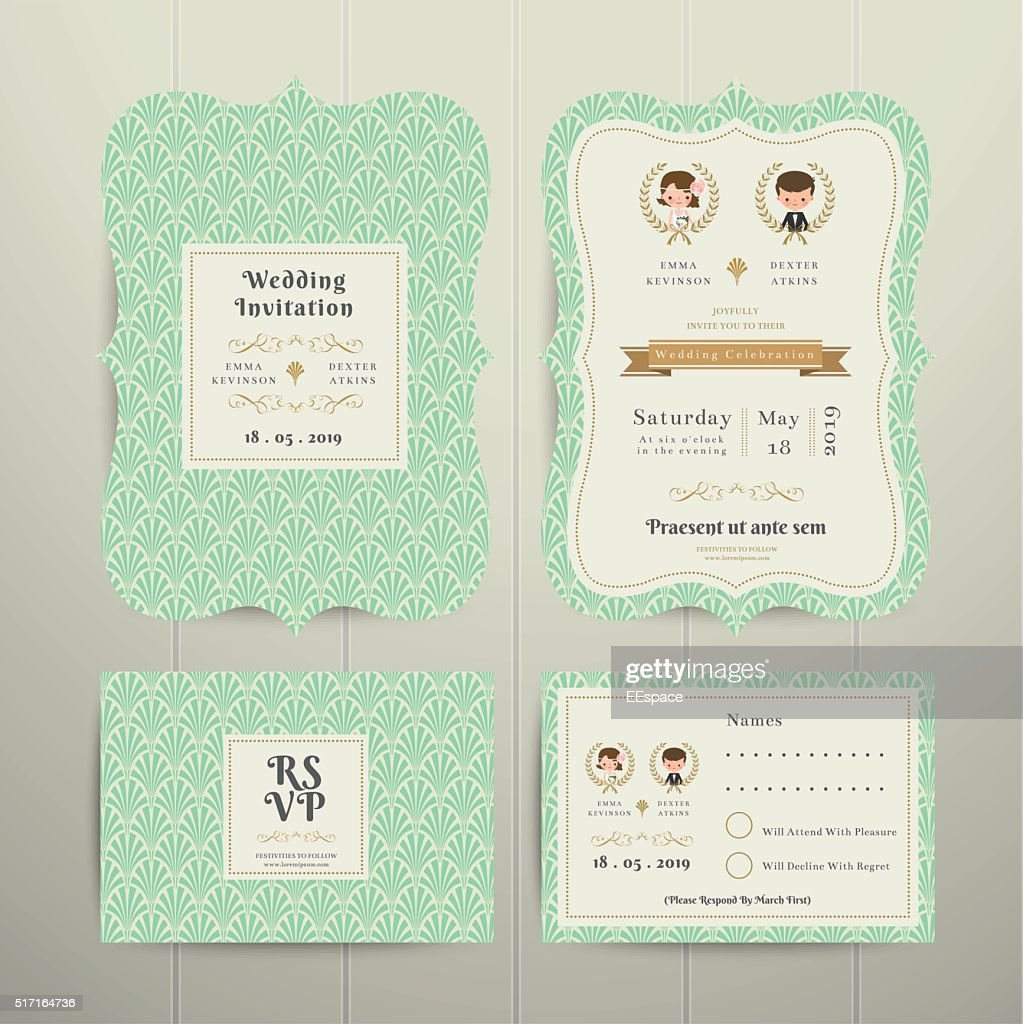 Art Deco Cartoon Couple Wedding Invitation Card RSVP Set