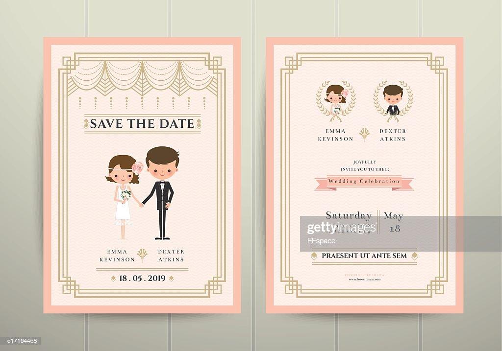 Art Deco Cartoon Couple Wedding Invitation Card
