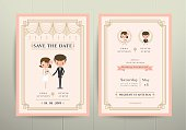 Art Deco Cartoon Couple Wedding Invitation Card